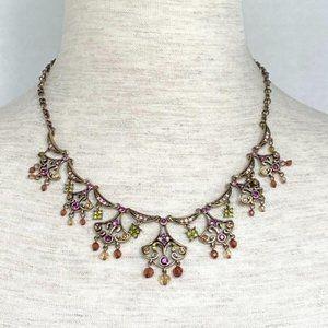 Marvella by Monet Antique Gold Rhinestone Necklace